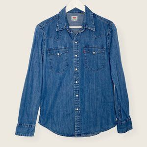 Levi's Pearl Snap Button Down Collared Denim Shirt